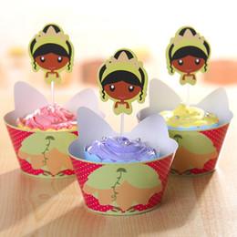 2016 Nuevo 24Pcs / lot princesa Jasmine Cupcake Wrapers Toppers Selecciones de la fiesta de cumpleaños de los niños Suministros de la fiesta de bienvenida al bebé Favors decoraciones de la torta supplier cupcake baby shower princess desde magdalena de bienvenida al bebé de la princesa proveedores