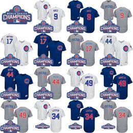 Wholesale 2016 World Series Champions Patch Chicago Cubs Jersey Javier Baez Kris Bryant Anthony Rizzo Jon Lester Jersey Baseball Jerseys