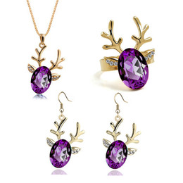Wholesale New Year Silver Gold Crystal Rhinestone Fashion Crystal Jewelry Sets Deer Necklace Earring Ring Women Children Christmas Gift