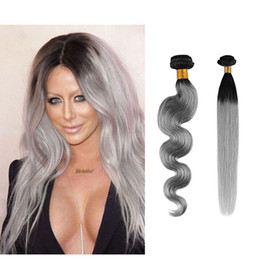 Best Sale Brazilian Virgin Human Hair Weaves T1B Gray Ombre Human Hair Bundles Body Wave Straight 12-28inch Optional Free Shipping
