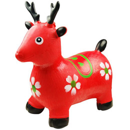 free shippChildren inflatable horse jumping horse inflatable toys, children's music and dance jumping red deer red deer increased thickening