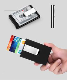 Wholesale Aluminium Card Holder Rfid Wallet Aluminum Purse Rfid Card Holder With PU Holster Metal Card Box Colors