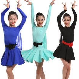 Professional Girls Kids Sequin Transparent Sleeve Latin Performance Costumes Fishbone Edge Sequin Latin Skirts Girls Ballroom Dance Clothes