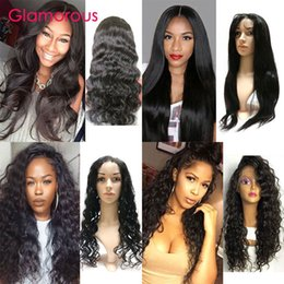 Glamorous Full Lace Wigs 10-30Inches Body Wave Straight Deep Wave Kinky Curly Brazilian Hair Wig Lace Front Human Hair Wigs for black women