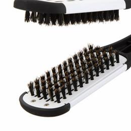 Salones para alisar el cabello en Línea-Double Side Straightening cepillos de pelo masaje peluquería profesional de pelo dúplex Hair Straightener Styling Tool