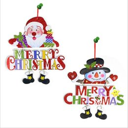 Wholesale Christmas Door Decor Wholesale - Christmas Decoration Wooden Letter Welcome Board Sign Santa Claus Snowman Pendant Doll Wall Door Hanging Decor Xmas Ornament
