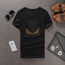 Promotion Plus Size 5XL 2017 Spring Summer Men Luxury Brand T Shirt Eyes Black Slim Short Sleeve O Neck T-Shirt Rhinestone High Quality
