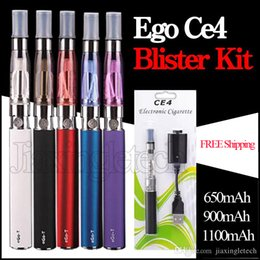 Electronic Cigarette Ego Ce4 Blister Kit Ego T Ego W Evod X6 Battery 650mAh Ce4 Atomizer Clearomizer Starter Kit E Cigarettes DHL Free