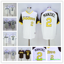 johnny manziel jerseys Promotion Johnny Manziel Jersey # 2 San Diego Padres Maillot de baseball Flexbase Coolbase Throwback Cooperstown 1978 1984 Green White Grey Coffee