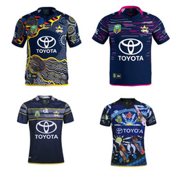 Wholesale 2017 NRL queensland cowboys Rugby Jerseys Best Quality Top maillot de futbal Men s NRL queensland Indigenous cowboys Rugby Shirts