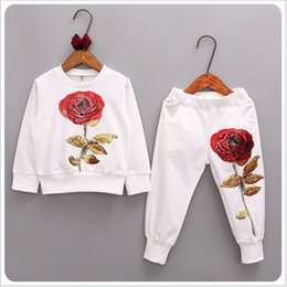 Wholesale 2017 New Spring Autumn Girls Tracksuits Children Rose Flower Embroidered Casual Sets Kids Sportswear Fashion Girl T shirt Pants Suit