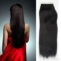 Hot selling remy human hair extensions 20pcs PU skin weft Silky Straight tape in hair extensions free shipping multi color large stock