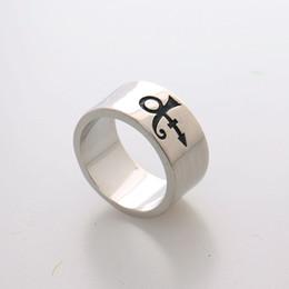 Wholesale 2016 New Steampunk Prince RIP Ankh Sign Symbol Logo Purple Rain Ring Singer Ring Prince Artist Silver Wedding Band Ring