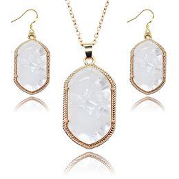 Wholesale Popular Women Kendra Jewelry Shiny Geometry Stone Scott Style Earring Necklace Jewelry Set Mix Color Free