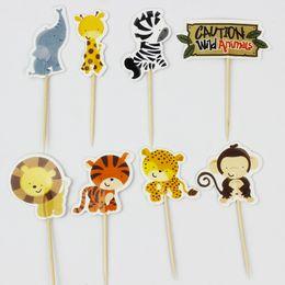 Wholesale Jungle Safari Cupcake Picks Animal Cake Toppers Cartoon Cupcake Inserts Card Birthday Baby Shower Kids Party Favors