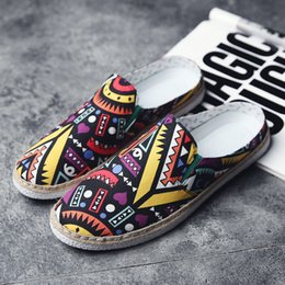 2017 New tide brand personality pattern men canvas shoes & men casual shoes fashion breathable semi-slippers low to help print flat shoes