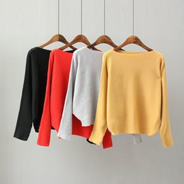 Wholesale 2016112117 Fashion Women Sweaters And Pullovers Batwing Sleeve Pullovers Slash Neck Casual Off Shoulder Sexy Knitted pull femme
