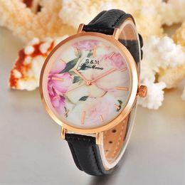 Vansvar Brand Leather Strap Women Quartz Watch Fashion Flower Watch Blossom Printed Casual Watches Relogio Feminino