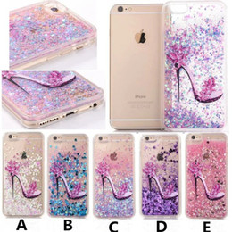 Wholesale Luxury High Heeled Shoes Glitter Quicksand Liquid Phone Back Case with TPU Soft Side for Iphone s plus s plus Plus