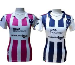 2017 México Monterrey Inicio Mujer Camisetas de fútbol Rosa Chica Camisas Señora femenina Fútbol Ropa W.GARGANO R.FUNES MORI D.PABON Maillot Top desde camisetas de fútbol de color rosa fabricantes