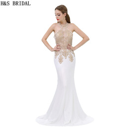 Real Photos 2017 Cheap Evening Dresses Long Chiffon Appliques Halter Illusion Evening Party Prom Gown B001
