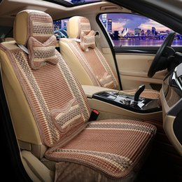 Hand knitting Ice silk Seat cold Car Covers Vehicle Five seat coolness Car cushion + seat cover