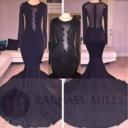 Sheer Long Sleeves Elegant Black Mermaid Prom Dresses 2017 Sexy Illusion Bodices Lace Sequins Long Evening Gowns Cheap Special Occasion Wear