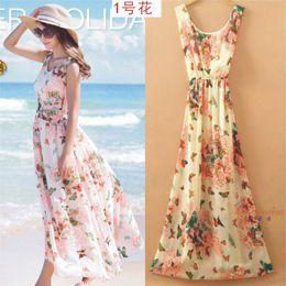 Summer Style Floral Print Maxi Dresses Women Beach Club Casual Loose Chiffon Sleeveless O-Neck Long Elegant bohemian dress