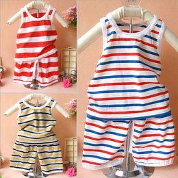Wholesale age babys clothing sets Striped baby summer vest shorts open seat pants set Children s boys girls clothing sets