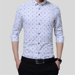 2017, new white shirt, men's long sleeves, self-cultivation Korean printed business casual shirt