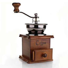 Cafetières à café en gros moulin à café en bois moulé à la main à partir de maisons en rondins de bois fournisseurs