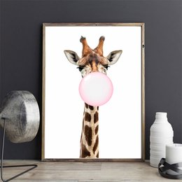 Wholesale Kawaii Animal Giraffe Bubble Nordic Canvas Painting Art Print Poster Wall Picture Room Decor No Frame