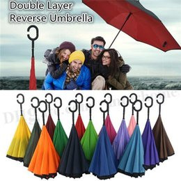 Wholesale Creative Inverted Umbrella Multiple Colors Double Layer With C Handle J Handle Inside Out Reverse Rainy Sunny Windproof Umbrella