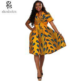 Shenbolen 2017 summer dress top quality African batik printed dress African dashiki for african women free package mail