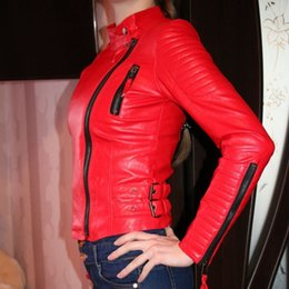 Desconto revestimento da motocicleta longas de couro Jaqueta de couro do revestimento da jaqueta do revestimento do revestimento do couro do falso das mulheres grande tamanho XS-XL vermelho motociclista jaquetas casacos de couro feminino