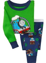 Free shipping Cotton cartoon Kids Small train Pajama Sets Clothes sleepwear pyjamas 2