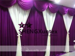 New Design Beautiful Looking Wedding Backdrop Curtain Free Shipping - White And Purple Color