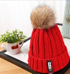 Wholesale Korean version of the new autumn and winter plus velvet thick B standard wool hat women hair bulb flange warm knit hat