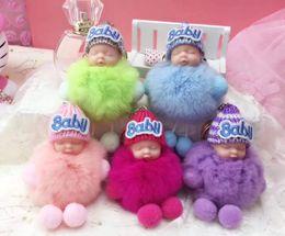 Real Rex Rabbit Hair Sleeping baby Cutey Keychains Ball Car Fluffy Pompom Pendant Hand Made Bag Hang Trinkets Decorations Gift