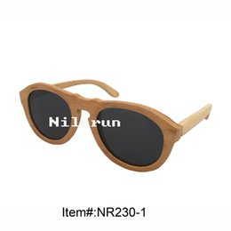 popular round cat eye real natural bamboo sunglasses