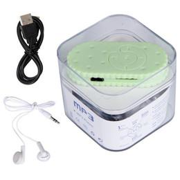 Mp3 mémoire lecteur 1gb à vendre-Vente en gros - Mini lecteur MP3 Câble USB Charger Cute Biscuits Candy Shape Support de lecteur de musique Carte mémoire Micro TF avec écouteur 3.5mm