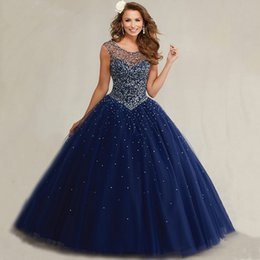Wholesale Plus Size Masquerade Bal Prom Gowns Puffy Sweet Navy Blue Quinceanera Dresses Pearls Cap Sleeves Sparkly Luxury Crystals HY1562