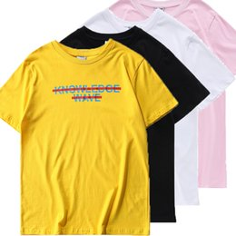 Asian Size High Quality Know Wave T Shirt Men Women Aaron Bondaroff design Japanese brand Hip Hop T Shirts Yellow Tops Vlone Men T-shirts