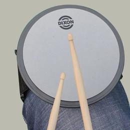 Ensembles de batterie en Ligne-Grossiste - DIXON 6 pouces Silent Drum Practice Pad ronde gris couleur Portable Leggings Jazz Drum Pad Set