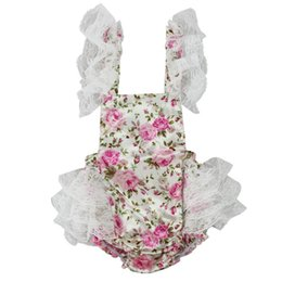 Vintage Summer ROSE Floral Baby Bubble Romper Flutter Sleeve Ruffle Baby Girls Playsuit Backless Cross Romper LACE ruffle bum romper