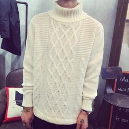 Wholesale European Brand Autumn Style Men s Cable Knit Turtleneck Pullover And Sweater New Fall Fashion Basic Funnel Neck Jumpers Man