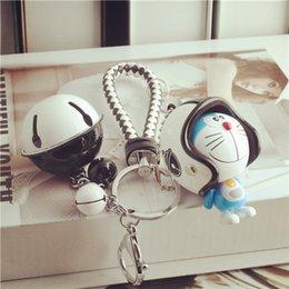 Wholesale Robot key chain helmet key chain men and women cute bell braided rope key