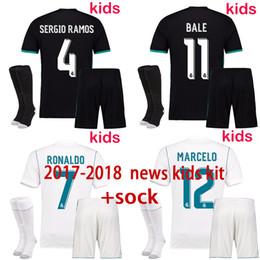 free shipping 17 18 Kids Kit Real Football Jersey Home White Away black Boy Soccer kit Ronaldo Bale ASENSIO ISCO Child Soccer suit+sock