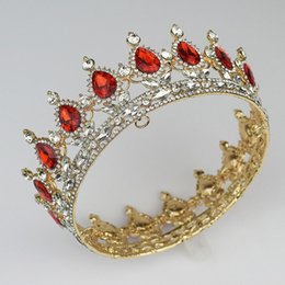 Wholesale 2017 new Hot European royal wedding bride drops of tire crown king queen rhinestone jewelry design headdress head gold color