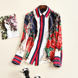 Wholesale The new Europe and the United States women s spring Fashion long sleeved lapel silk flower printed shirt